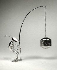 Bug tea infuser, sterling silver tea egg and holder
