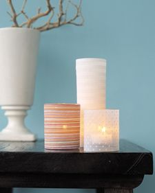 Fabric covered glass candle holders