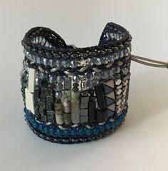 CITYSCAPE Artisan Bracelet Beaded Leather by TwinklingOfAnEye