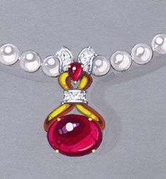 private label rubellite and pearl necklace