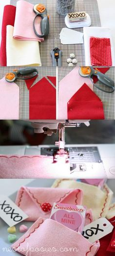 DIY Valentine's Day Envelopes. Good tutorial included. Fill envelopes with goodies, card, love note, etc. Cute!