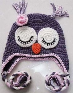 Owl Hat Purple Beautiful And Cute Handmade Crocheted Hats Made With