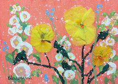 "Daily Paintworks - ""White Hollyhocks and Pansies"" - Original Fine Art for Sale - © Linda Blondheim"