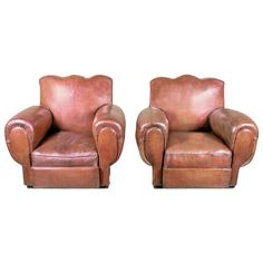Pair of French Art Deco Moustache Back Club Chairs in Original Leather | From a unique collection of antique and modern club chairs at https://www.1stdibs.com/furniture/seating/club-chairs/