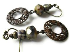 French Lavender Picasso Finish and Vintage Patina Drop Earrings, via Etsy.