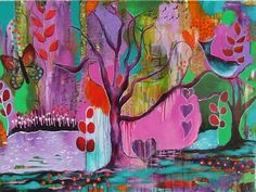 """Spring Forest, 30×40  """"Taking Flora's course has made painting mysterious and freeing and has opened me up to the flow of the moment. Thank you so much, Flora!"""" Jessica Payne"""