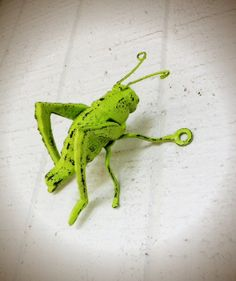 BOLD lime green Grasshopper figure // cast iron paperweight // rustic spring shabby chic // bug wall art