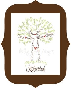 Family Tree Typography 11x14 digital print by lesleygracedesigns, $60.00