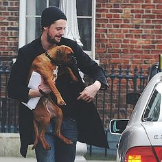 Matthew Goode and his boxer dog Maggie Matthew William Goode, Mathew Goode, Under The Shadow, A Discovery Of Witches, All Souls, Man And Dog, Older Men, Boxer Dogs, British Actors