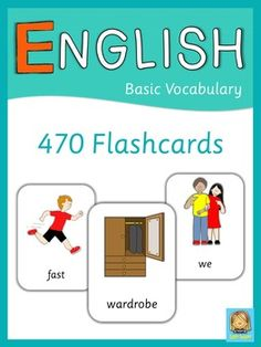 This set contains 470 English flashcards.  Please note: English flashcards is part of ESL Bundle  Basic Vocabulary Themes included in this set are:  adjectives  animals  body  seasons  clothes  colors  family  emotions  food  house –  rooms, furniture, appliances  professions  environment  countries – nationalities, languages  numbers  places in town  prepositions  pronouns – subject, object  school objects  transportation  verbs –  free time activities, daily routine, chores  weather…