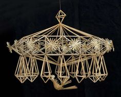 Straw Crafts, Diy Straw, Straw Decorations, Paper Chandelier, Weaving Designs, Weaving Art, Handmade Ornaments, How To Make Ornaments, Diy Projects To Try