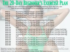 The 20-Day Beginner's Exercise Plan -- New to the gym? No problem! Start this exercise plan that will get you into the groove after just 20 days.