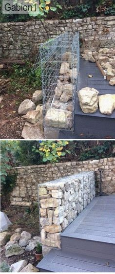 gabion wall in Provence filled with local limestone http://www.gabion1.co.uk