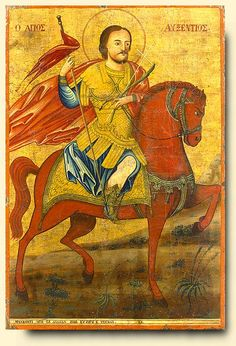 Saint Auxentios.     Romanian, circa 1800   Tempera and gold on gesso on wood