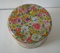 Vintage Floral Chintz Tin Box  Cannister by annesvintagefinds, $7.95