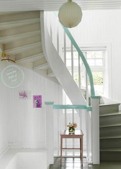 "Bright Bazaar Staircase. Any idea how long I would fret over the ""perfect color"" to paint the handrail? But I like the idea...make it your own!"