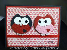 handmade card from Dreenies Creative Corner: Link Up Tuesday- Owl Love You Again ...adorable punch art owls ... lots of circles!!