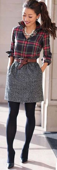 Grey Skirt and Plaid Shirt Outfit Idea for the Fall