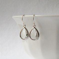 Clear Crystal Drop Earrings Faux Diamond Drop by PeriniDesigns, $19.00