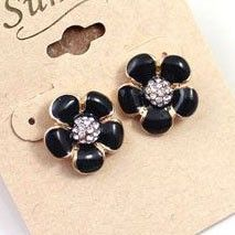 Wholesale Brand black flowers Rhinestone texture Earrings DC7E501 $1.75