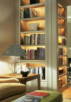Book Case  Room Divider - Add lights to each shelf and presto, one lit up piece of furniture that subs as both a book case  room divider