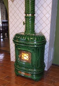 Green ceramic fireplace