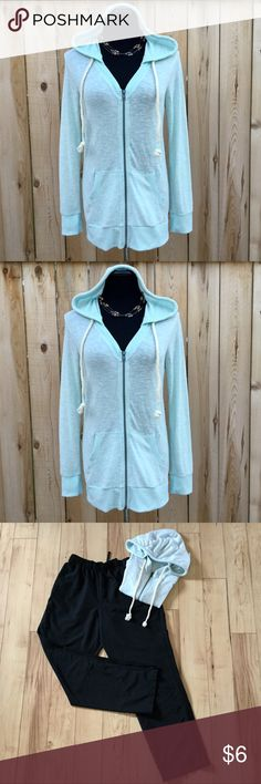 "NWOT Beachy Light Weight Hoodie! NWOT Perfect for Spring and Summer, this mint green, light weight hoodie, is in excellent, new condition with zip front and rope hood string. Measurements: Chest 18"" flat, pit to pit, stretches to 20"". Waist 17"" flat, stretches to 19"". Length 28"". No Boundaries Tops Sweatshirts & Hoodies"