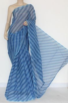 Blue Real JP Kota Doria Laharia Printed Cotton Saree (without Blouse) 15290