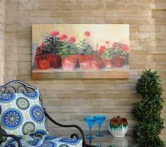 Kathleens Geraniums Outdoor Canvas Art Print