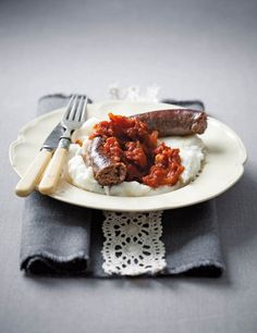 Ostrich Sausage with Pap and Smoor (Boerewors will work just as well! South African Recipes, English Food, Sausage Recipes, Diy Food, Meat
