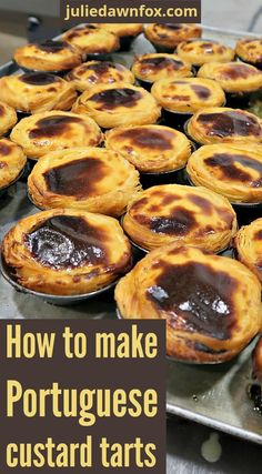 Portuguese Recipes 69301 Pastel de nata workshop in Lisbon, Portugal. Learn how to make deliciously creamy Portuguese custard tarts at an authentic bakery so you can make them at home. Portugese Custard Tarts, Portuguese Custard Tart Recipe, Portuguese Egg Tart, Portuguese Desserts, Portuguese Recipes, Tart Recipes, Snack Recipes, Dessert Recipes, Cooking Recipes