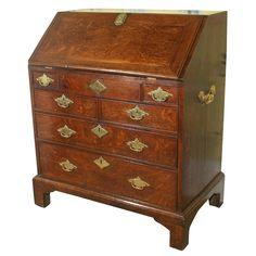 Fine George II oak slant front desk, c.1740