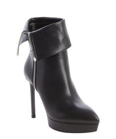 Saint Laurent black leather point toe 'Janis' cuff ankle boot. Perfect!