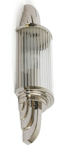 Art Déco Wandleuchte PETIO II von Art Nouveau Lamps: Die Art Déco-Wandleuchte mit Kristall-Glasstäbchen, hier Modell 1 mit 45 cm Höhe, Messing vernickelt