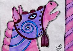 "Aceo Original ""CAROUSEL CLASSIC PINK HORSE"" pencil/ink  ON EBAY"
