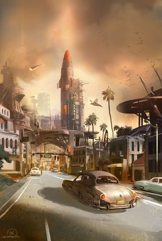 I love these retro-futuristic stuff. It's so imaginative colorful, and different, not at all the sterile dystopic futurescapes of today. I like the aesthetics and the hope and wonder behind them, it'd make for an awesome theme.