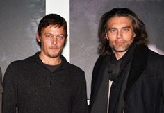 A two-fer!! Norman Reedus AND Anson Mount at one of Norman's art shows, 2011.