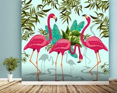 Transform your home with this stunning Tropical Pink Flamingos wallpaper. Pink Flamingo Wallpaper, Flamingo Art, Pink Flamingos, Tropical Wallpaper, Creative Wall Painting, Wall Painting Decor, Flower Art Drawing, Wall Drawing, Modern Wall Decor