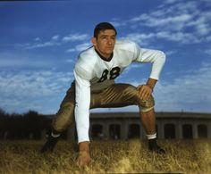 """Texas A & M end Bill """"Jitterbug"""" Henderson '43 also starred in 3 other varisty sports. Elected to Aggie Hall-of-Fame in 1964,  Texas Sports Hall-of-Fame in 1974, and Texas Legislature in 1952."""