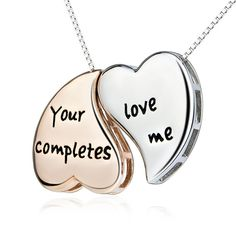 """Hand Stamped """"Your Love Completes Me"""" Necklace Silver Hoop Earrings, Silver Necklaces, Crystal Necklace, Silver Jewelry, Silver Ring, Engraved Necklace, Dog Tag Necklace, Hand Stamped Jewelry, Beautiful Necklaces"""