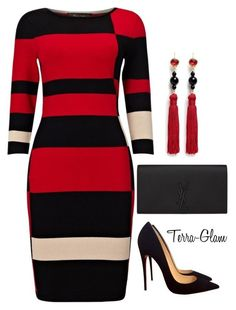 Red  Black Delight by terra-glam on Polyvore featuring polyvore fashion style Phase Eight Christian Louboutin Yves Saint Laurent Kenneth Jay Lane clothing