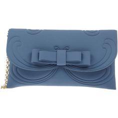 La Fille Des Fleurs Handbag (1.512.280 IDR) ❤ liked on Polyvore featuring bags, handbags, clutches, slate blue, bow purse, blue hand bag, mini handbags, mini pochette and miniature handbags