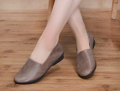 2016 New! Leather Shoes Flat Shoes Leather Flat Slip Ons Soft Sole Shoes Loafers by HerHis
