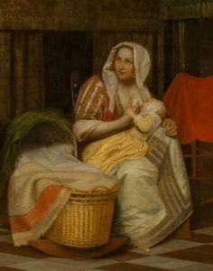"""Питер де Хох. """"Женщина с ребёнком и служанка"""" (1663-1665). (деталь)"""