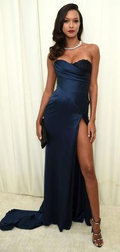 24160e7dbc Unique Design Navy Blue Sweetheart Long Prom Dresses With Lace