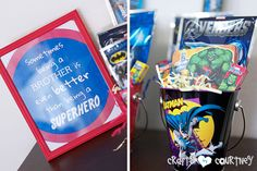 Superhero Birthday Party: Party Favor Station:Sometimes being a big brother is even better than being a superhero Craft Party, Diy Party, Party Favors, Superhero Birthday Party, Birthday Ideas, Hero Crafts, Holiday Parties, Free Printables, Projects To Try