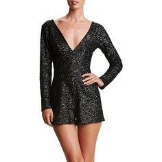 Women's Dress The Population Bianca Sequin Romper ($228) ❤ liked on Polyvore featuring jumpsuits, rompers, matte black, playsuit romper, sequin romper and sequin rompers