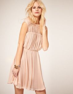 ShopStyle: ASOS Skater Dress with Lace Insert