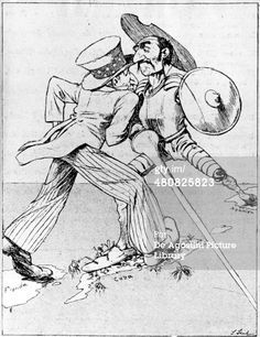 JULY 02: Cuba, 19th century. Humorous illustration on the Spanish-American War concerning Cuba, 1898. Caricature. (Photo by DeAgostini/Getty Images)