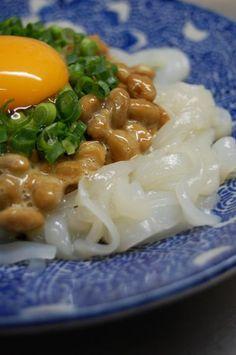 Fresh Ika Calamari Sashimi and Natto, Negi Green Onion, Egg York. Japan's Home Meal